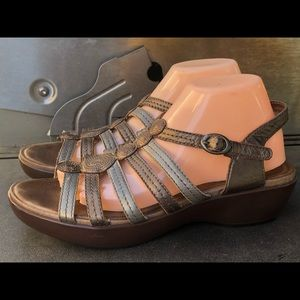 Dansko Silver Gold Leather Strappy Wedge Sandals
